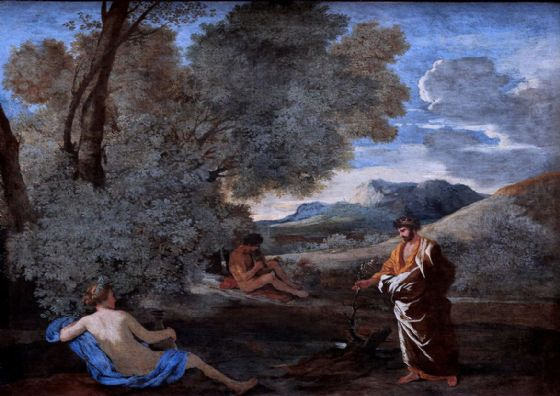 Poussin, Nicolas: Landscape with Numa Pompilius and the Nymph Egeria. Fine Art Print/Poster. Sizes: A1/A2/A3/A4 (003428)